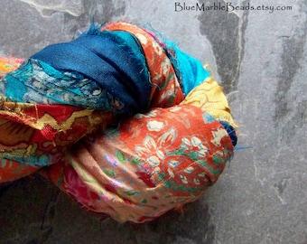 Printed Ribbon, Recycled Sari Ribbon, Silk Sari Ribbon, Silk Ribbon, India, Recycled, Multi Colored, Floral, Paisley, Tassel Ribbon, 5 Yards