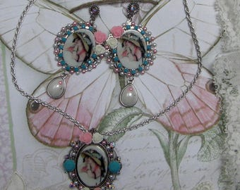 Set 2 pieces Lady with Hat shabby chic