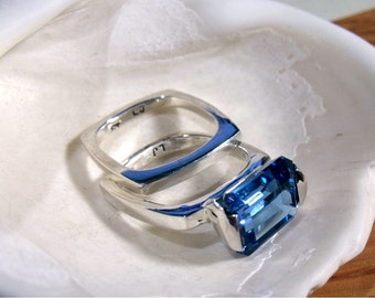 Blue Topaz in Sterling Silver Engagement Ring RF071
