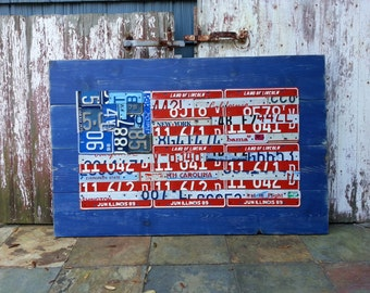 Original United States AMERICAN FLAG - Adventure Road Trip Hiking Awesome Recycled License Plate Art -  Gift for Husband Men - Man Cave Bar