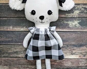 Handmade Puppy doll - Puppy stuffie- Cloth doll -ready to ship doll-fabric doll - rag doll, puppy gift- dress up doll-dog gift