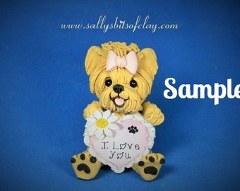 Yorkie Yorkshire Terrier Tan and Grey I LOVE YOU heart sculpture Polymer Clay art by Sallys Bits of Clay