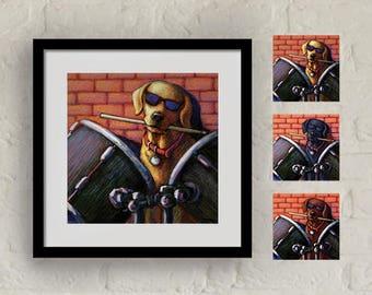 """Framed """"Drum Roll"""" Print Labrador Retriever Art 16""""x16"""""""