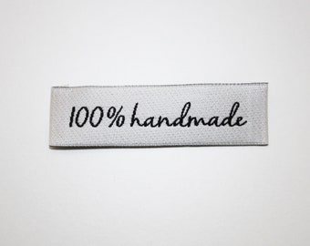 """Sewing """"100% handmade"""", 60 x 17 mm, set of 5, woven, light grey or white and black, satin, handmade"""