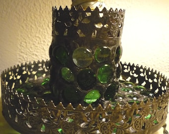 Ornate Gothic Green Stained Glass Mosaic Smudge Pot / Storage and Luminaire Candle Holder