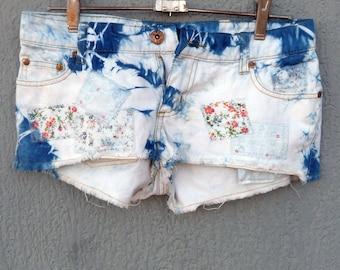 Indigo Dyed Shibori Denim Shorts
