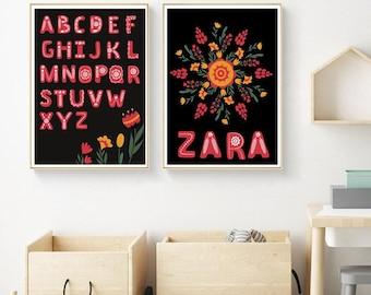 Scandinavian Custom Alphabet Nursery Art