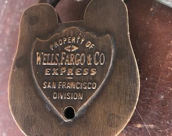 Wells Fargo & Co. Brass Padlock w/ 2 Keys - reproduction