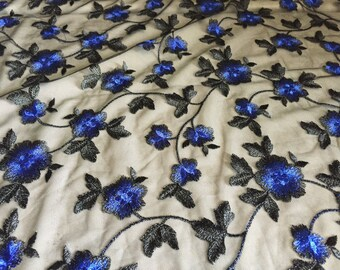 Blue Floral embroidery on black tulle, stunning and classic, 1 1/2 yard piece, 56 inches wide