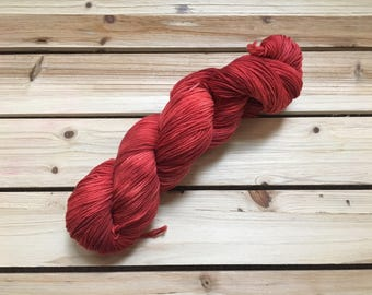 Hand Dyed Yarn - Fingering Weight - Sock Yarn - Knit - Crochet Yarn - Merino Wool - Multi-colored - Speckled - Red - Crimson