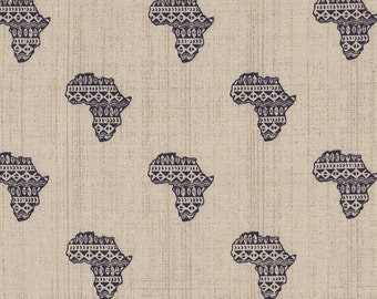 African Fabric Continent of Africa, African map Sold per Half yard , Color background gray, African clothing, African decor, and accessories