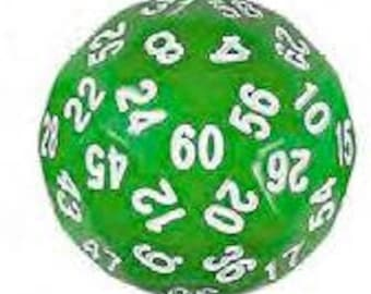 Single Dice: D60 35mm Single Green with White Numbers