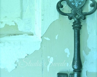 "Key Photography, Shabby Cottage Chic, French Key Art, Turquoise Print, Rustic Decor, Skeleton Key, Cottage Farmhouse Art- ""Fleur De Lis Key"""