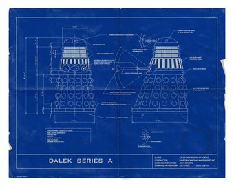 Tardis blueprint etsy dr who dalek humorous 16x20 blueprint poster limited edition distressed no flying daleks here veriant malvernweather
