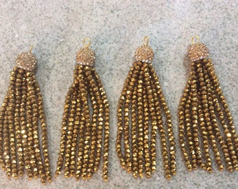 old gold/gold pave crystal tassel jewelry making wholesale boho supplies trendy