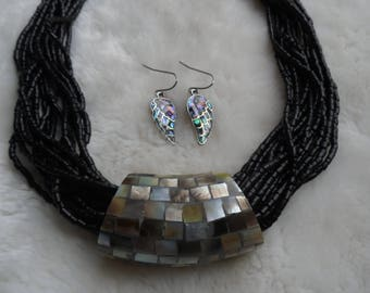 Mosaic natural abalone shell necklace earrings set