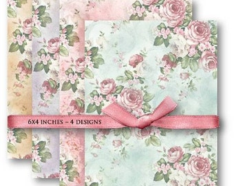 Pink Roses Backgrounds - Digital Collage Sheet Download -598- Digital Paper - Instant Download Printables