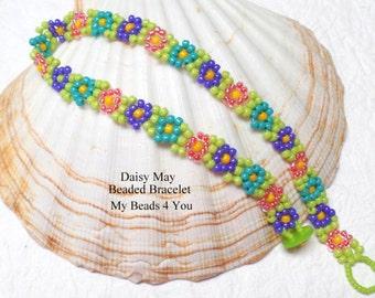 Daisy Chain Bracelet, Daisy Chain Jewelry, Seed Bead Jewelry, Multi colored Beaded Jewelry, Beadwoven Bracelet, Daisy Jewelry, Blue Bracelet