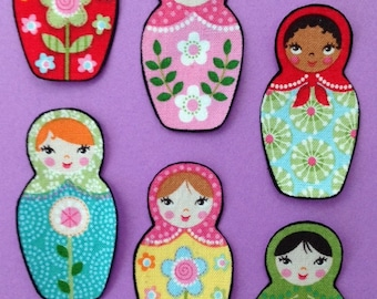 SALE*Set of Six Adorable Matryoshka Doll Appliques*Handmade*Robert Kaufman Fabric/265