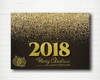 Merry Christmas and A Happy New Year Gold Ornaments Card  Black and Gold Elegant Card