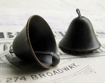 NEW! School bell charm, 10mm, black patina antiqued brass (2 charms) black bell charm, black brass bell, little bell, church bell