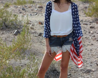 American flag print  handmade sheer kimono cardigan cover up/USA/Fourth of July/United States side stripe flag sheer gypsy top/one size