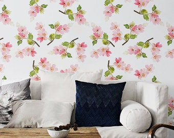Pink apple tree flower patterned removable wallpaper, Apple tree brunches wall sticker, Floral temporay wallpaper, Flower decal, BW091