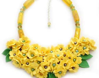 Bright Yellow Flower Statement Necklace, Large Necklace, Art Jewelry, Contemporary Jewelry, Summery jewelry, Sculptural Necklace