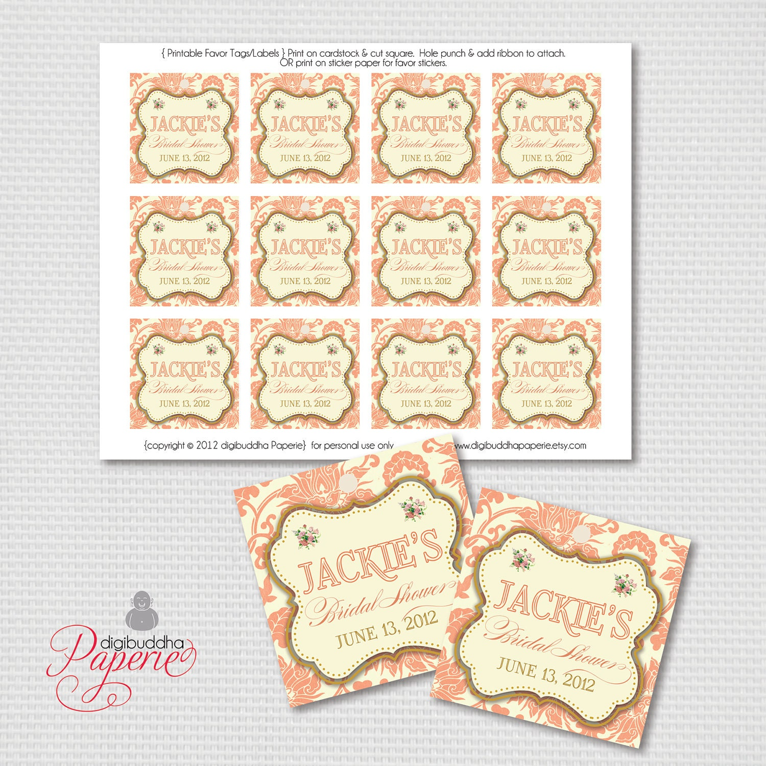 Coral favor tags gold damask bridal shower thank you label zoom negle Gallery