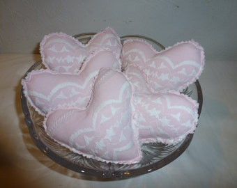 5 Vintage Chenille and Pink Embroidered Fabric Mini Heart Bowl Fillers