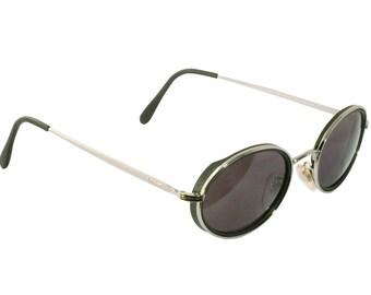 Lozza 80s steampunk sunglasses, made in Italy. Round vintage sunglasses side shields - 100% original designer sunglasses 80s vintage