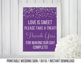 Love is Sweet Please Take a Treat / Printable Candy Buffet Sign / Instant Download / Purple and Silver Glitter