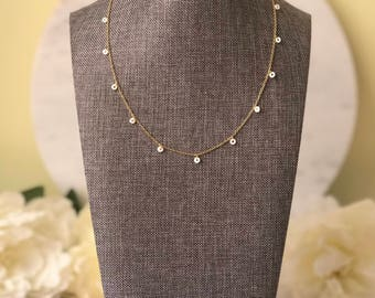 Tiny shell discs layering necklace