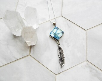 silver feather charm necklace, turquoise aura glass necklace, bohemian jewelry, dichroic glass, unique gift for her, gifts for girlfriend