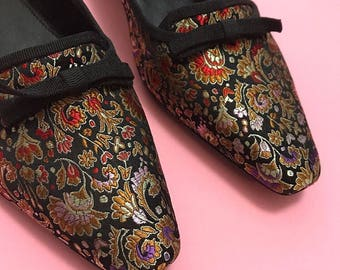 Satin embroidered smoking slippers 7.5