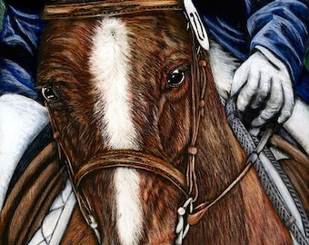 Original Scratchboard Art DRESSAGE ROAN Horse Head Portrait English Equestrian Rider Bridle Drawing Painting Safyre Studios