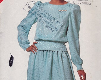 See and Sew 6515 Vintage Pattern Womens Top and Full Skirt Size 16,18,20,22,24 UNCUT