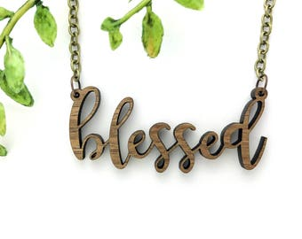 BLESSED CURSIVE SCRIPT // Handwritten Walnut Necklace // Wood Laser Cut Jewelry