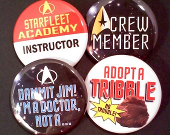 "1.5"" Buttons OR Magnets-Star Trek Inspired, Set of 4"