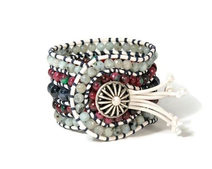 Boho Monika* 5 strand Statement Wrap Bracelet. Boho Style. Bohemian Jewelry. Semiprecious stones. Gift for her. Unique Design.