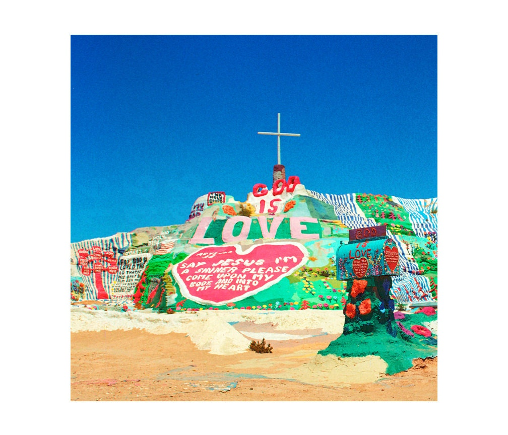 Print Only Salvation Mountain Folk Art God Love Cross Desert