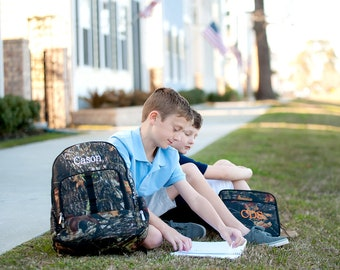 Woods Camo Backpack and Lunch Box Set, Personalized Backpack for Boys, Boys Back to School, Monogram Included on the Backpack and Lunch box