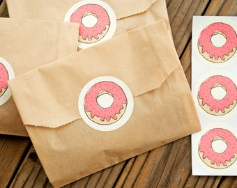 Fun Donut Stickers - Wedding Favors, Party Favor, Birthday, Shower - DONUT - 20 Stickers