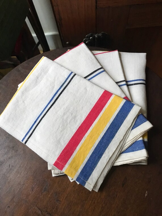 4 vintage Kitchen Tea Towels - never used Stripe