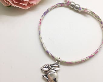 Easter jewelry etsy childrens bunny liberty charm bracelet gifts for girls gifts for children easter negle Images
