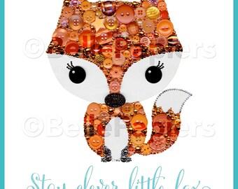Animal Nursery Button Art Fox PRINT Stay Clever Little Fox Nursery Fox Decor Fox Art Buttons Swarovski Crystals Baby Shower Gifts Fox