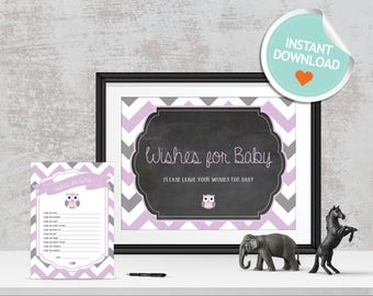 Owl Wishes for Baby, Owl Baby Wishes, Purple, Gray, Chevron, Chalkboard (Branch) | Instant Download