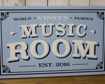 Personalized Music Room Sign/Man Cave/Christmas Gift/YOU choose Name and Colors/World Famous/Male Gift/Wood Sign/Hand Painted/Music Room