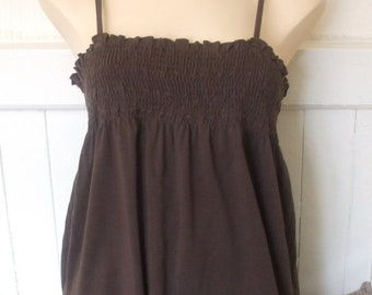 Vintage 1990's NEXT Brown Sun Top with Spaghetti Straps and Elasticated Bodice UK Size 14/16 / US Size 10/12
