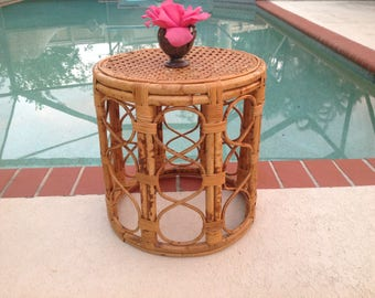 RATTAN CANE DRUM Vintage Rattan Cane Drum Table / Bamboo Side Table /  Fretwork Side Table